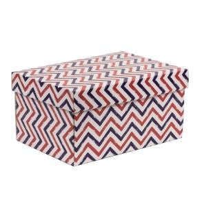 Darčeková krabica s vekom 300x200x150/40 mm, VZOR - CIK CAK fialová/koralová