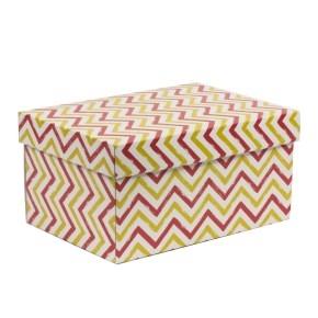 Darčeková krabica s vekom 300x200x150/40 mm, VZOR - CIK CAK koralová/žltá