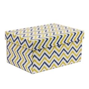 Darčeková krabica s vekom 300x200x150/40 mm, VZOR - CIK CAK modrá/žltá