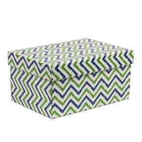 Darčeková krabica s vekom 300x200x150/40 mm, VZOR - CIK CAK zelená/modrá