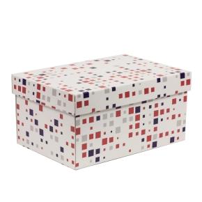 Darčeková krabica s vekom 300x200x150/40 mm, VZOR - KOCKY fialová/koralová