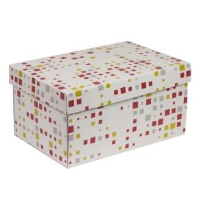 Darčeková krabica s vekom 300x200x150/40 mm, VZOR - KOCKY koralová/žltá