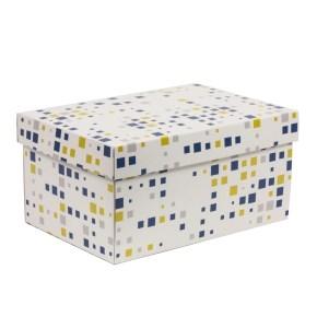 Darčeková krabica s vekom 300x200x150/40 mm, VZOR - KOCKY modrá/žltá