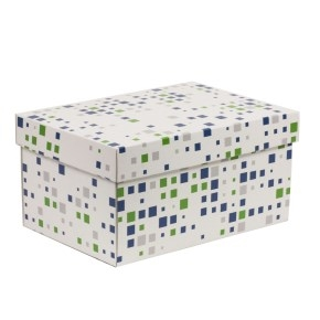 Darčeková krabica s vekom 300x200x150/40 mm, VZOR - KOCKY zelená/modrá