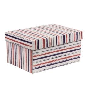 Darčeková krabica s vekom 300x200x150/40 mm, VZOR - PRUHY fialová/koralová