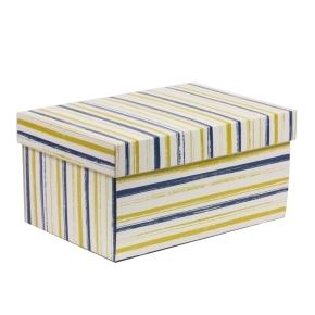 Darčeková krabica s vekom 300x200x150/40 mm, VZOR - PRUHY modrá/žltá