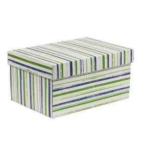 Darčeková krabica s vekom 300x200x150/40 mm, VZOR - PRUHY zelená/modrá