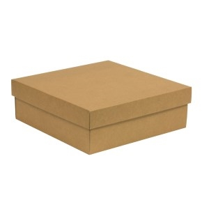 Darčeková krabica s vekom 300x300x100/40 mm, hnedá - kraft