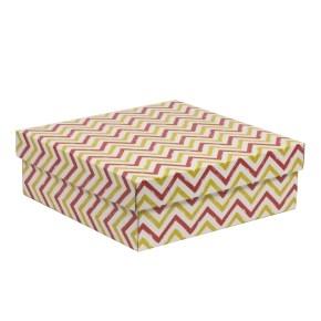 Darčeková krabica s vekom 300x300x100/40 mm, VZOR - CIK CAK koralová/žltá