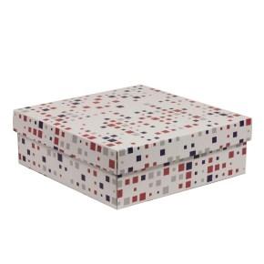 Darčeková krabica s vekom 300x300x100/40 mm, VZOR - KOCKY fialová/koralová