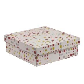 Darčeková krabica s vekom 300x300x100/40 mm, VZOR - KOCKY koralová/žltá