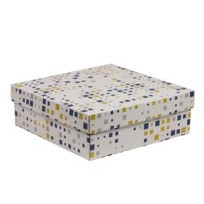Darčeková krabica s vekom 300x300x100/40 mm, VZOR - KOCKY modrá/žltá