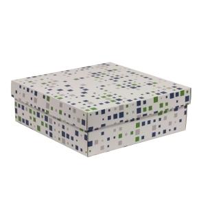 Darčeková krabica s vekom 300x300x100/40 mm, VZOR - KOCKY zelená/modrá