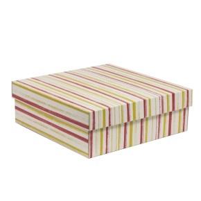 Darčeková krabica s vekom 300x300x100/40 mm, VZOR - PRUHY koralová/žltá