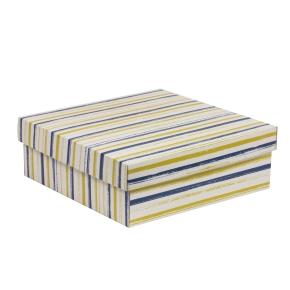Darčeková krabica s vekom 300x300x100/40 mm, VZOR - PRUHY modrá/žltá