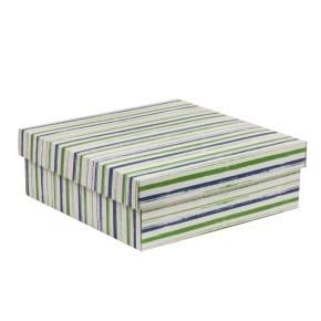 Darčeková krabica s vekom 300x300x100/40 mm, VZOR - PRUHY zelená/modrá