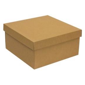 Darčeková krabica s vekom 300x300x150 mm, hnedá - kraft