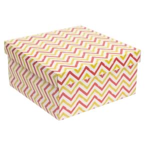 Darčeková krabica s vekom 300x300x150 mm, VZOR - CIK CAK koralová/žltá