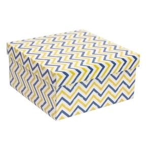Darčeková krabica s vekom 300x300x150 mm, VZOR - CIK CAK modrá/žltá