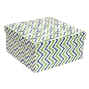 Darčeková krabica s vekom 300x300x150 mm, VZOR - CIK CAK zelená/modrá
