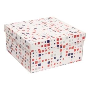 Darčeková krabica s vekom 300x300x150 mm, VZOR - KOCKY fialová/koralová