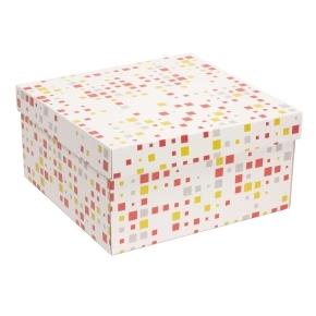 Darčeková krabica s vekom 300x300x150 mm, VZOR - KOCKY koralová/žltá