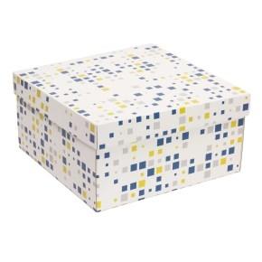 Darčeková krabica s vekom 300x300x150 mm, VZOR - KOCKY modrá/žltá