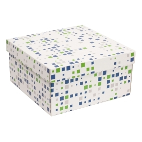 Darčeková krabica s vekom 300x300x150 mm, VZOR - KOCKY zelená/modrá