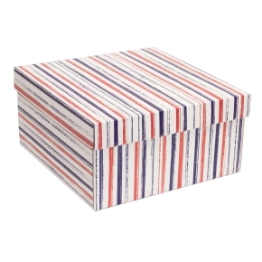 Darčeková krabica s vekom 300x300x150 mm, VZOR - PRUHY fialová/koralová
