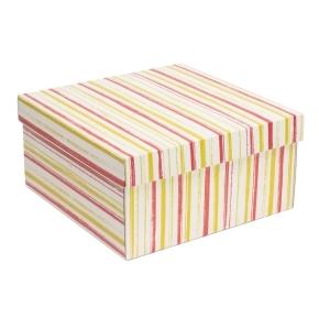 Darčeková krabica s vekom 300x300x150 mm, VZOR - PRUHY koralová/žltá