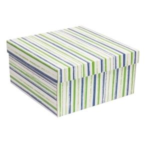 Darčeková krabica s vekom 300x300x150 mm, VZOR - PRUHY zelená/modrá