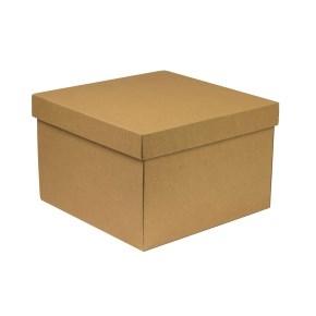 Darčeková krabica s vekom 300x300x200 mm, hnedá - kraft