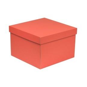 Darčeková krabica s vekom 300x300x200 mm, koralová