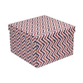 Darčeková krabica s vekom 300x300x200 mm, VZOR - CIK CAK fialová/koralová