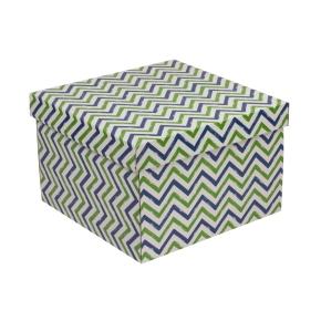 Darčeková krabica s vekom 300x300x200 mm, VZOR - CIK CAK zelená/modrá