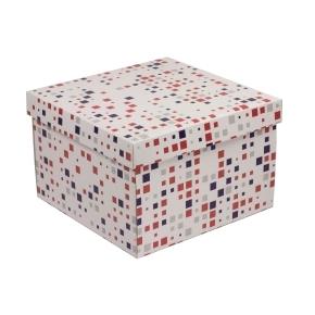 Darčeková krabica s vekom 300x300x200 mm, VZOR - KOCKY fialová/koralová