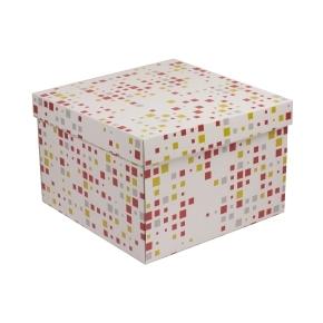 Darčeková krabica s vekom 300x300x200 mm, VZOR - KOCKY koralová/žltá