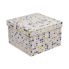 Darčeková krabica s vekom 300x300x200 mm, VZOR - KOCKY modrá/žltá