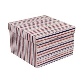 Darčeková krabica s vekom 300x300x200 mm, VZOR - PRUHY fialová/koralová