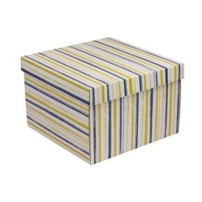 Darčeková krabica s vekom 300x300x200 mm, VZOR - PRUHY modrá/žltá