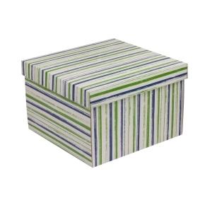 Darčeková krabica s vekom 300x300x200 mm, VZOR - PRUHY zelená/modrá