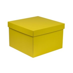 Darčeková krabica s vekom 300x300x200 mm, žltá