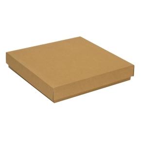 Darčeková krabica s vekom 300x300x50 mm, hnedá - kraft