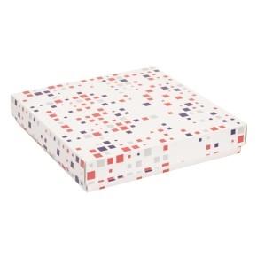 Darčeková krabica s vekom 300x300x50 mm, VZOR - KOCKY fialová/koralová