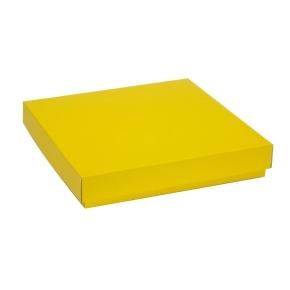 Darčeková krabica s vekom 300x300x50 mm, žltá