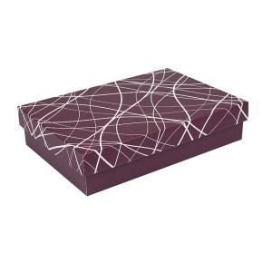 Darčeková krabica s vekom 330x220x70/35 mm, vínová so vzorom na veku