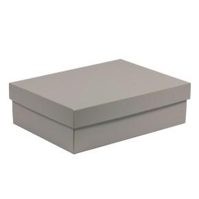 Darčeková krabica s vekom 350x250x100/40 mm, sivá