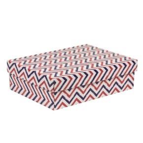 Darčeková krabica s vekom 350x250x100/40 mm, VZOR - CIK CAK fialová/koralová