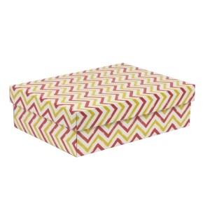 Darčeková krabica s vekom 350x250x100/40 mm, VZOR - CIK CAK koralová/žltá
