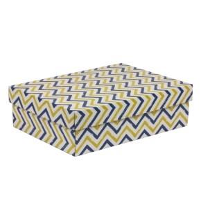 Darčeková krabica s vekom 350x250x100/40 mm, VZOR - CIK CAK modrá/žltá